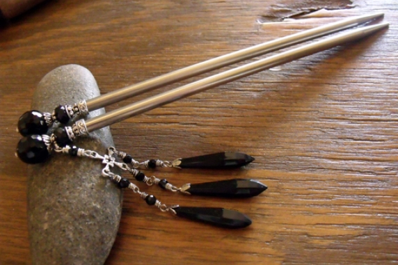 Black Onyx Gemstone Hairsticks