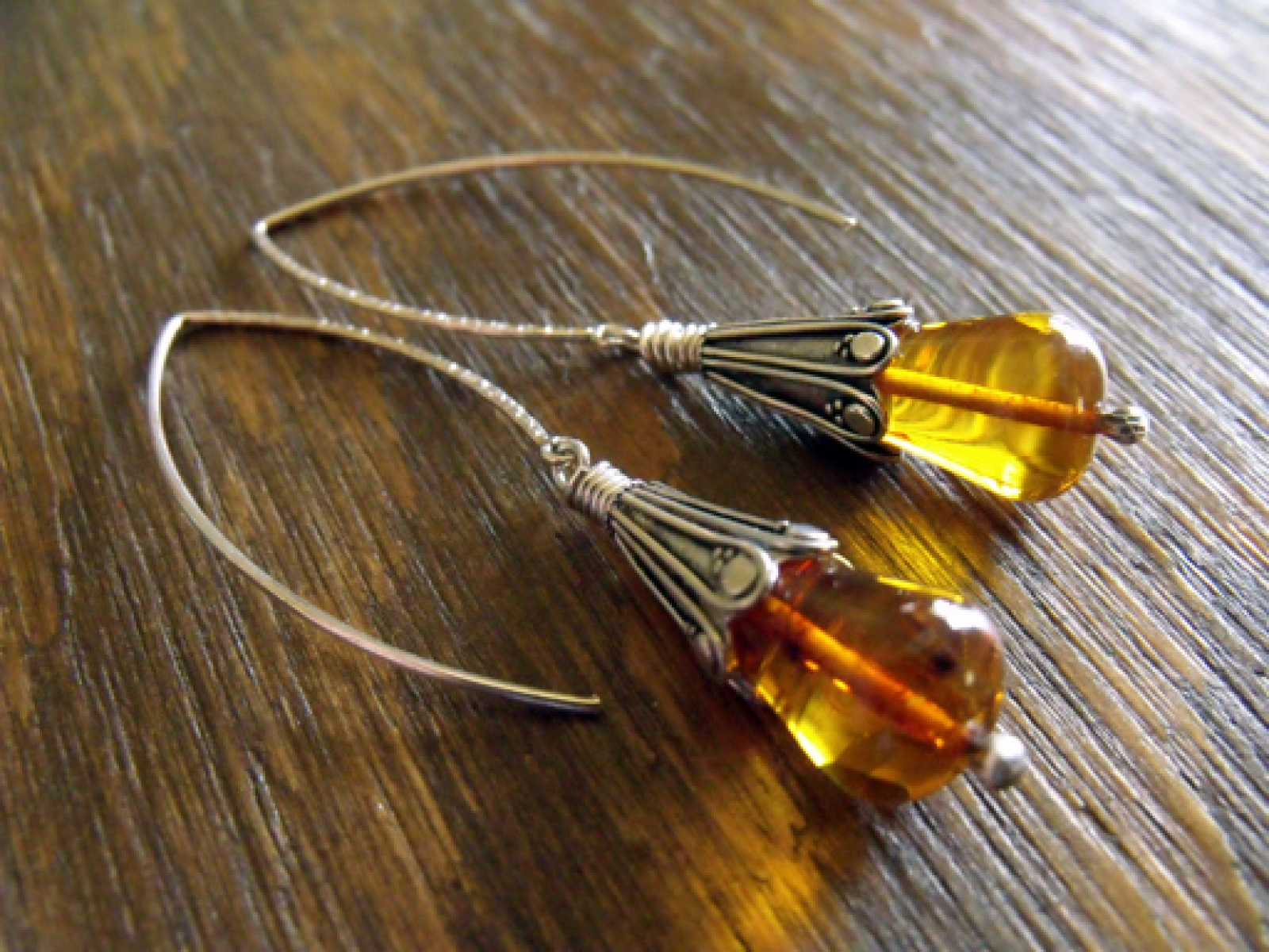 Heliades Tears Ancient Amber Teardrops And Intricately Detailed Sterling Silver Bohemian Earrings