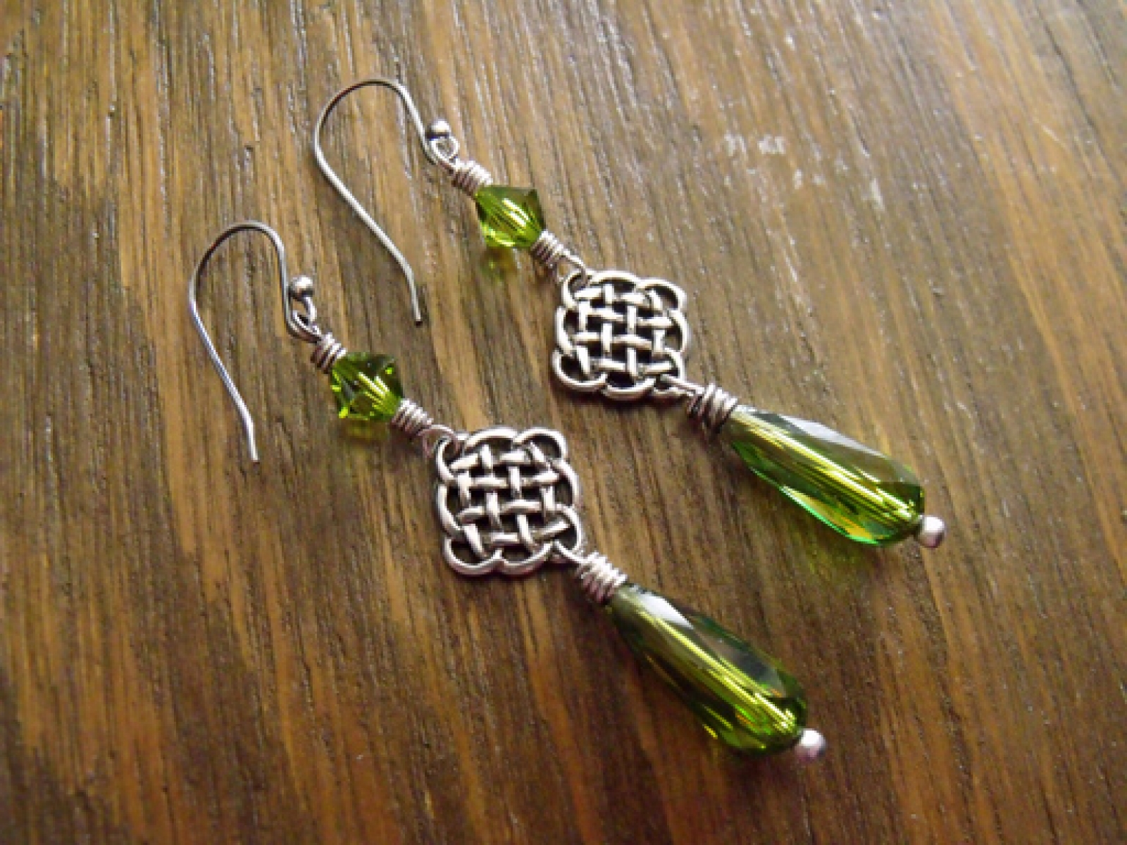 48e74adf4 Celtic Woods Earrings with Rare Vintage Swarovski Olivine Green Crystals  and Sterling Silver Endless Knots